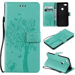 Embossing Butterfly Tree Leather Wallet Case for Google Pixel 3A XL - Cyan