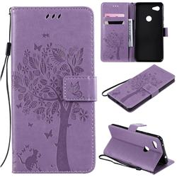 Embossing Butterfly Tree Leather Wallet Case for Google Pixel 3A XL - Violet