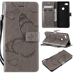 Embossing 3D Butterfly Leather Wallet Case for Google Pixel 3A XL - Gray
