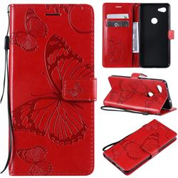 Embossing 3D Butterfly Leather Wallet Case for Google Pixel 3A XL - Red