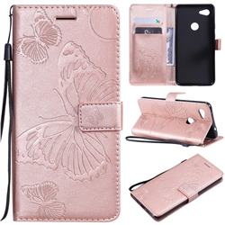 Embossing 3D Butterfly Leather Wallet Case for Google Pixel 3A XL - Rose Gold