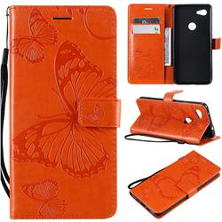 Embossing 3D Butterfly Leather Wallet Case for Google Pixel 3A XL - Orange