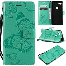Embossing 3D Butterfly Leather Wallet Case for Google Pixel 3A XL - Green