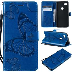 Embossing 3D Butterfly Leather Wallet Case for Google Pixel 3A XL - Blue