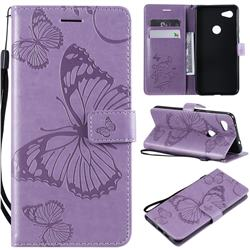 Embossing 3D Butterfly Leather Wallet Case for Google Pixel 3A XL - Purple