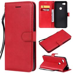 Retro Greek Classic Smooth PU Leather Wallet Phone Case for Google Pixel 3A XL - Red