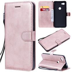 Retro Greek Classic Smooth PU Leather Wallet Phone Case for Google Pixel 3A XL - Rose Gold