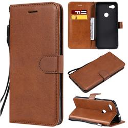 Retro Greek Classic Smooth PU Leather Wallet Phone Case for Google Pixel 3A XL - Brown