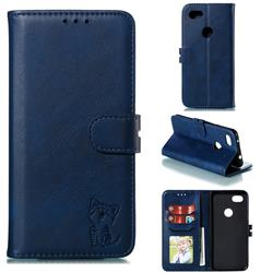 Embossing Happy Cat Leather Wallet Case for Google Pixel 3A XL - Blue