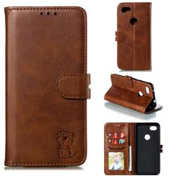 Embossing Happy Cat Leather Wallet Case for Google Pixel 3A XL - Brown