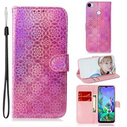 Laser Circle Shining Leather Wallet Phone Case for Google Pixel 3A XL - Pink