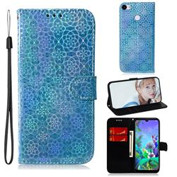 Laser Circle Shining Leather Wallet Phone Case for Google Pixel 3A XL - Blue