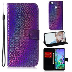 Laser Circle Shining Leather Wallet Phone Case for Google Pixel 3A XL - Purple