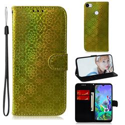 Laser Circle Shining Leather Wallet Phone Case for Google Pixel 3A XL - Golden