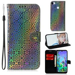 Laser Circle Shining Leather Wallet Phone Case for Google Pixel 3A XL - Silver