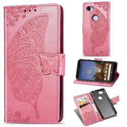 Embossing Mandala Flower Butterfly Leather Wallet Case for Google Pixel 3A XL - Pink