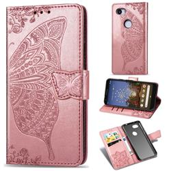 Embossing Mandala Flower Butterfly Leather Wallet Case for Google Pixel 3A XL - Rose Gold