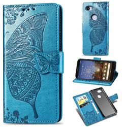 Embossing Mandala Flower Butterfly Leather Wallet Case for Google Pixel 3A XL - Blue