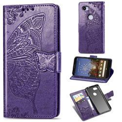 Embossing Mandala Flower Butterfly Leather Wallet Case for Google Pixel 3A XL - Dark Purple