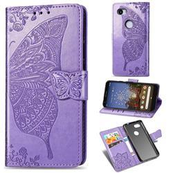 Embossing Mandala Flower Butterfly Leather Wallet Case for Google Pixel 3A XL - Light Purple