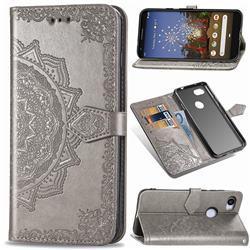 Embossing Imprint Mandala Flower Leather Wallet Case for Google Pixel 3A XL - Gray