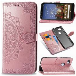 Embossing Imprint Mandala Flower Leather Wallet Case for Google Pixel 3A XL - Rose Gold