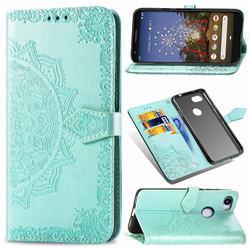 Embossing Imprint Mandala Flower Leather Wallet Case for Google Pixel 3A XL - Green