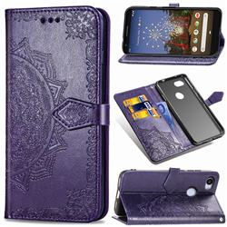 Embossing Imprint Mandala Flower Leather Wallet Case for Google Pixel 3A XL - Purple