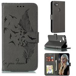 Intricate Embossing Lychee Feather Bird Leather Wallet Case for Google Pixel 3A XL - Gray