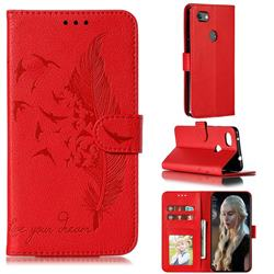 Intricate Embossing Lychee Feather Bird Leather Wallet Case for Google Pixel 3A XL - Red