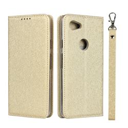 Ultra Slim Magnetic Automatic Suction Silk Lanyard Leather Flip Cover for Google Pixel 3A XL - Golden