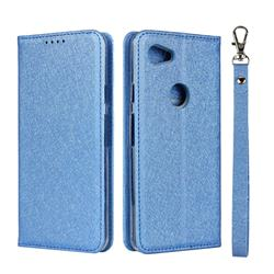 Ultra Slim Magnetic Automatic Suction Silk Lanyard Leather Flip Cover for Google Pixel 3A XL - Sky Blue