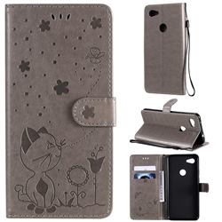 Embossing Bee and Cat Leather Wallet Case for Google Pixel 3A XL - Gray