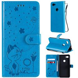 Embossing Bee and Cat Leather Wallet Case for Google Pixel 3A XL - Blue