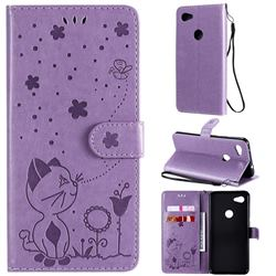 Embossing Bee and Cat Leather Wallet Case for Google Pixel 3A XL - Purple