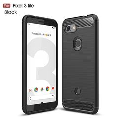 Luxury Carbon Fiber Brushed Wire Drawing Silicone TPU Back Cover for Google Pixel 3 Lite - Black