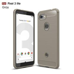 Luxury Carbon Fiber Brushed Wire Drawing Silicone TPU Back Cover for Google Pixel 3 Lite - Gray