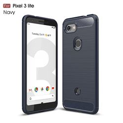 Luxury Carbon Fiber Brushed Wire Drawing Silicone TPU Back Cover for Google Pixel 3 Lite - Navy