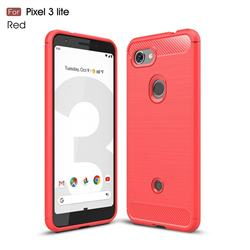 Luxury Carbon Fiber Brushed Wire Drawing Silicone TPU Back Cover for Google Pixel 3 Lite - Red