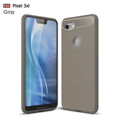 Luxury Carbon Fiber Brushed Wire Drawing Silicone TPU Back Cover for Google Pixel 3 XL - Gray