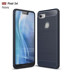 Luxury Carbon Fiber Brushed Wire Drawing Silicone TPU Back Cover for Google Pixel 3 XL - Navy