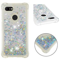 Dynamic Liquid Glitter Sand Quicksand Star TPU Case for Google Pixel 3 XL - Silver