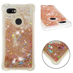 Dynamic Liquid Glitter Sand Quicksand Star TPU Case for Google Pixel 3 XL - Diamond Gold
