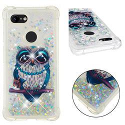 Sweet Gray Owl Dynamic Liquid Glitter Sand Quicksand Star TPU Case for Google Pixel 3 XL