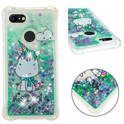 Tiny Unicorn Dynamic Liquid Glitter Sand Quicksand Star TPU Case for Google Pixel 3 XL