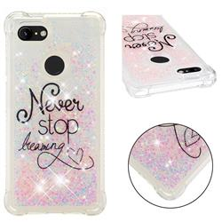 Never Stop Dreaming Dynamic Liquid Glitter Sand Quicksand Star TPU Case for Google Pixel 3 XL
