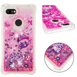 Skateboard Deer Dynamic Liquid Glitter Sand Quicksand Star TPU Case for Google Pixel 3 XL