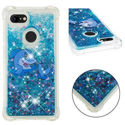 Happy Dolphin Dynamic Liquid Glitter Sand Quicksand Star TPU Case for Google Pixel 3 XL