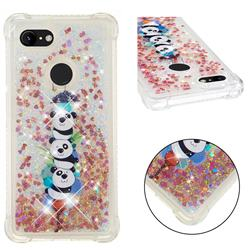 Three Pandas Dynamic Liquid Glitter Sand Quicksand Star TPU Case for Google Pixel 3 XL
