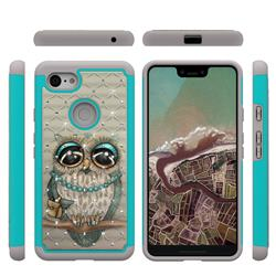 Sweet Gray Owl Studded Rhinestone Bling Diamond Shock Absorbing Hybrid Defender Rugged Phone Case Cover for Google Pixel 3 XL